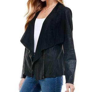 Black Moto jacket lightweight asymmetrical zip up